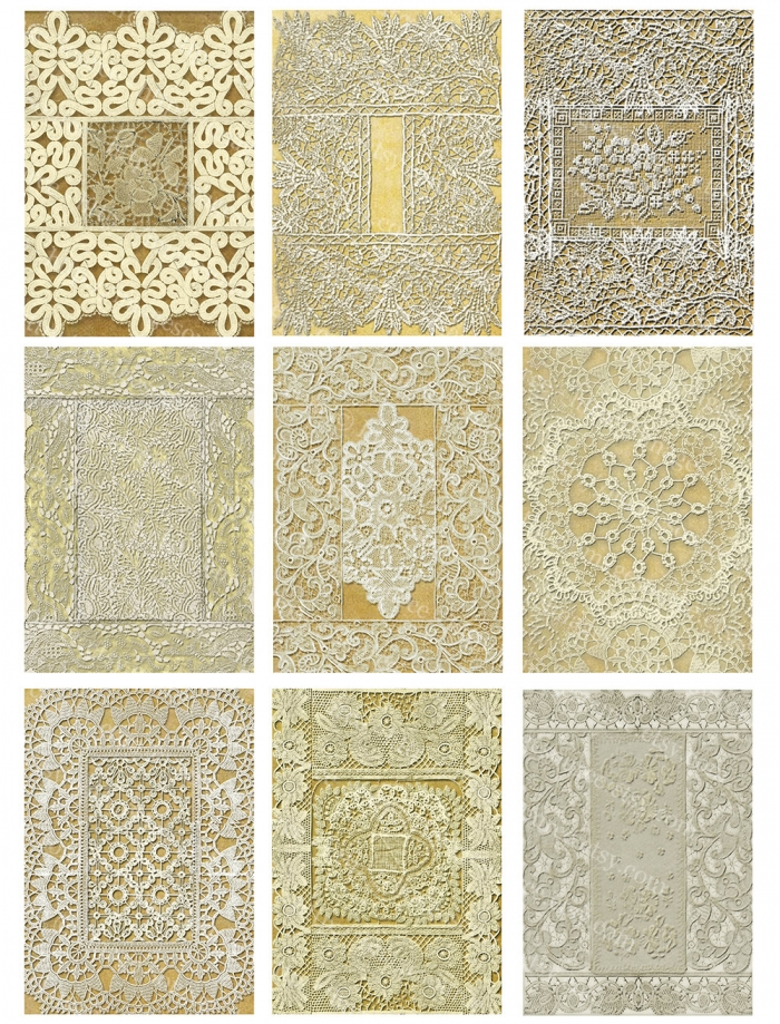 Vintage Lace Backgrounds Digital Collage Sheet, ACEO, ATC Images (no. 2)