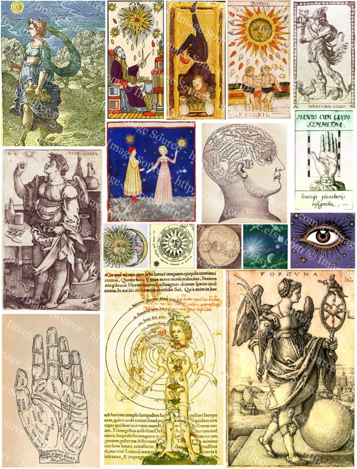 Digital Collage Sheet Alchemy Occult, Tarot And Mysticism