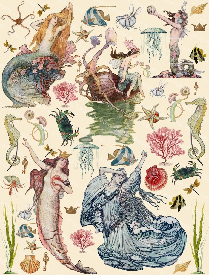 Mermaids Digital Collage Sheet, Sea Maidens, Sirens, Fairy Tale Mermaids Printab