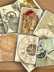 Printable Steampunk Backgrounds, Clockwork and Gears, Sample