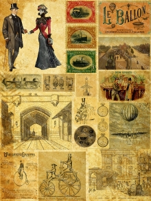 Grunge Steampunk Clipart, Collage Sheet, Instant Printable