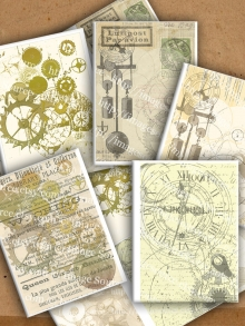 Printable Steampunk ACEO Background Clockwork display sample