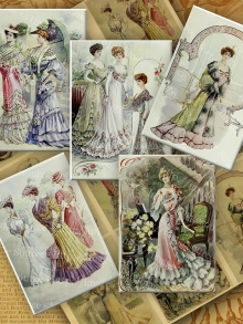 Victorian Ladies Color Illustrations, Digital Collage Sheet
