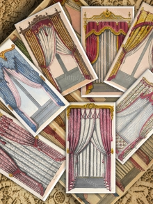 Paper Theater Backdrops, French Regency Curtains, Digital Collage Sheet