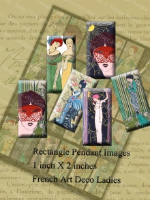 Parisian Ladies Digital Collage Sheet, Art Pendant Images, 1 X 2 in