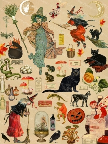 Printable Download Witches, Black Cats, Toads, Cauldrons