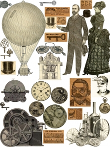 Steampunk Elements Digital Collage Sheet