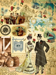 Steampunk Romance Wedding Scrapbooking, Digital Download