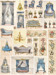 Vintage French Interiors Collage Sheet, French Provencal Furniture Printable