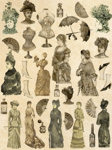 Collage Sheet, Victorian Ladies Fashions and Accessories, Printable Download