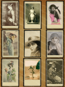 Vintage Photos Pretty Ladies Digital Collage Sheet